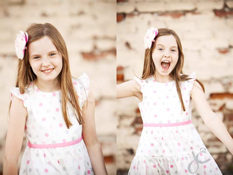 birthday girl, white dress with pink accents, otudoor portraits